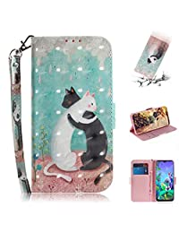 Strap 3D Wallet Case for LG Q60,Aoucase Ultra Slim Fancy Painted Magnetic Soft Silicone Card Slot Stand PU Leather Case with Black Dual-use Stylus - Cat Couple