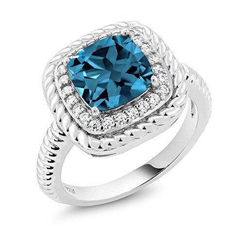 Gem Stone King London Blue Topaz 925 Sterling Silver Women's Engagement Ring 2.74 Ctw Cushion Cut Gemstone Birthstone Available 5,6,7,8,9 (Size ()