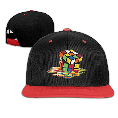 Kids Rubiks Cube Costumes (WYUZHEN Kid's Melting Rubik's Cube Hip-hop Snapback Hat Caps Red)