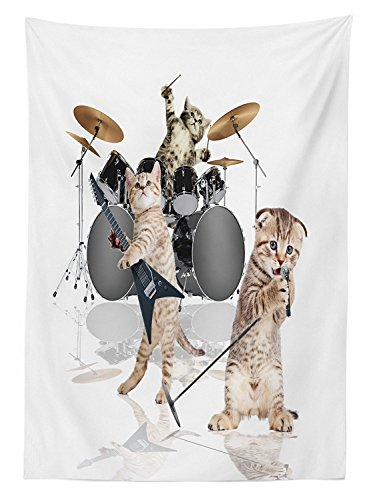 Animal Decor Tablecloth Cool Fancy Hard Cute Rocker Band of Kittens with Singer Guitarist Cats Print Dining Room Kitchen Rectangular Table Cover Multicolor