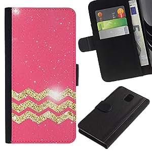 All Phone Most Case / Oferta Especial Cáscara Funda de cuero Monedero Cubierta de proteccion Caso / Wallet Case for Samsung Galaxy Note 3 III // Moroccan Pattern Golden Pink Glitter