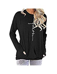 FarJing Womens Tops Casual Round Neck Long Sleeve Pocket Sweatshirt T-Shirt Blouses