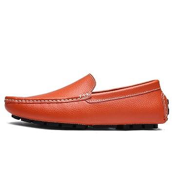 Zapatos de Hombre Cuero/PU Primavera/Otoño Zapatos de Confort/Conducción Mocasines y Mocasines Planos (Color : Naranja, tamaño : 42): Amazon.es: Jardín