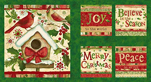 - 1 Panel Believe in The Season by Sue Zipkin from Clothworks Cotton Quilt Fabric Y2161-113 Forestcardinals
