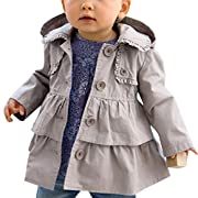 iiniim Kids Baby Girls Spring Trench Wind Dust Coat Hooded Jacket Outerwear Grey 6-12 Months