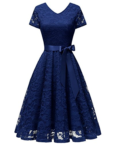 Bridesmay Women V Neck Floral Lace Cocktail Party Bridesmaid Dress with Sleeves Navy XL
