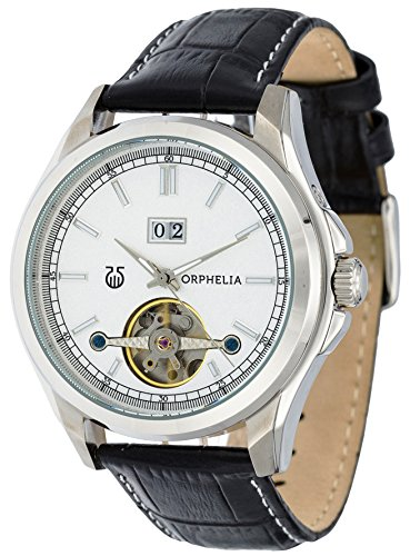 Orphelia Men's Automatic Watch Analogue With Luminous Hands Black Leather Bracelet Dial Color Silver