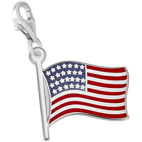 Gold American Flag Charm (14k White Gold Usa Flag Charm With Lobster Claw Clasp, Charms for Bracelets and Necklaces)