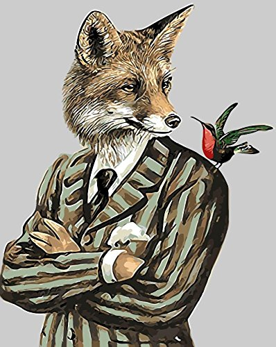 TianMai New Paint by Number Kits - Gentleman Fox 16x20 inch Linen Canvas Paintworks