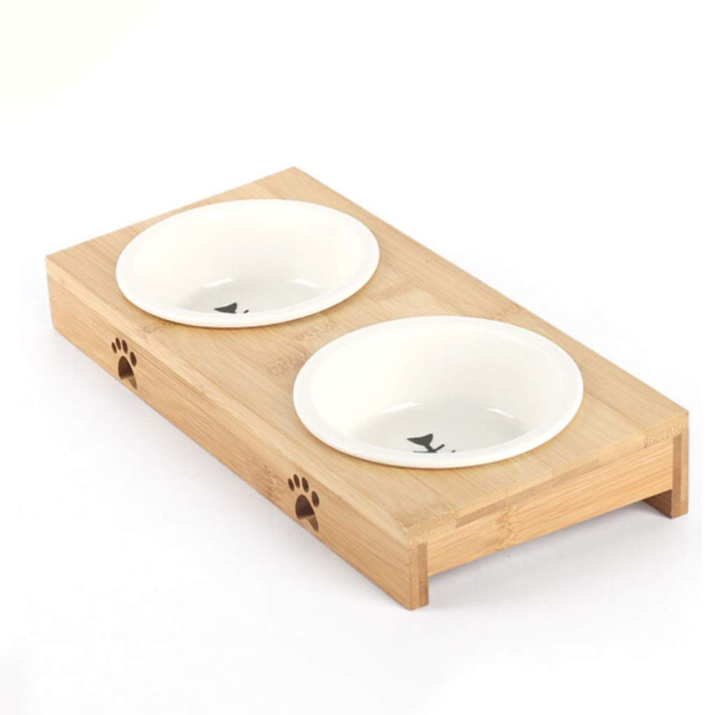 Bamboo Feeding Stations,Senior Ceramic Pet Bowl,Feeder and Water 2 in 1,15 Degree Tilted Platform Pet Feeder,for Dogs Cats and Pets,for Dry or Wet Food