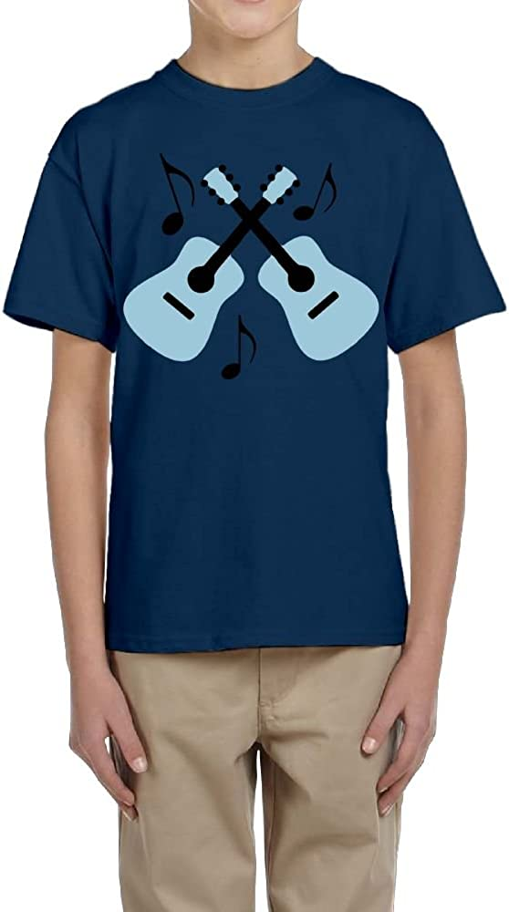 Fzjy Wnx Short Sleeve Shirts Youth Crewneck Blue Guitars for Boy