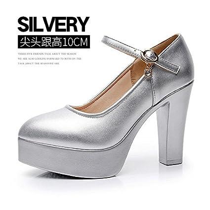 267839c7 Corbata con ranuras para mujer gruesas con tacón alto impermeable modelo de zapatos  individuales de tacón