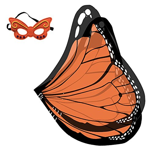 Baby Song Soft Butterfly Wings Costume Dress-ups Set with Mask for Kids, Orange