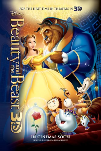 BEAUTY AND THE BEAST MOVIE POSTER 2 Sided ORIGINAL 2012 Re-R