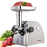 Sunmile SM-G31 Stainless Steel Electric Meat Grinder with Grinding Plates and Sausage Tubes