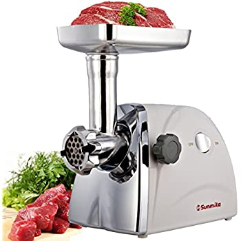 Sunmile SM-G31 ETL Electric Meat Grinder and Sausage Stuffer Maker - 1HP 800W Max - Stainless Steel Cutting Blade, 3 Grinding Plates, 3 Sausage Stuffing Tubes