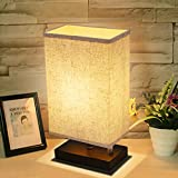 Amazon rectangle table lamps lamps shades tools home dimmable bedside table lamp kingso ul listed plug in nightstand lamp with dimmer knob switch e26 fabric shade minimalist solid wooden base for bedroom mozeypictures Choice Image