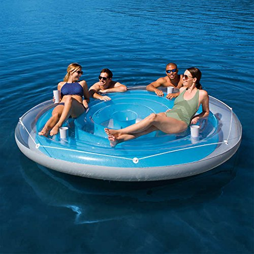 4 Person Cooler Z Blue Caribbean Floating Island Inflatable in Water with Cooler & Cup (Caribbean Inflatable)