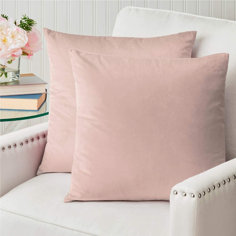 The Connecticut Home Company Velvet Throw Pillow Cases, Set of 2, Decorative Case Sets, Many Colors, Square Pillow Covers, Soft Pillowcases for Living Room, Bedroom, Couch, Sofa, Bed, 18x18, Blush