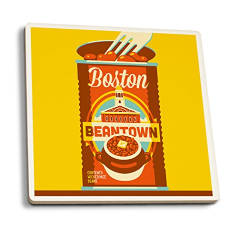 Lantern Press Boston, Massachusetts - Beantown (Set of 4 Ceramic Coasters - Cork-Backed, Absorbent) ()