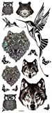 New design and hot selling Wolf heads,owl heads,tiger heads,birds and butterflies realistic and fake temp tattoo stickers by InterRookie by InterRookie
