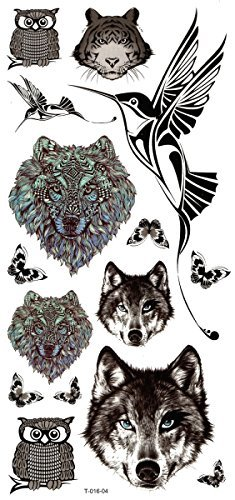 New design and hot selling Wolf heads,owl heads,tiger heads,birds and butterflies realistic and fake temp tattoo stickers by InterRookie by InterRookie -