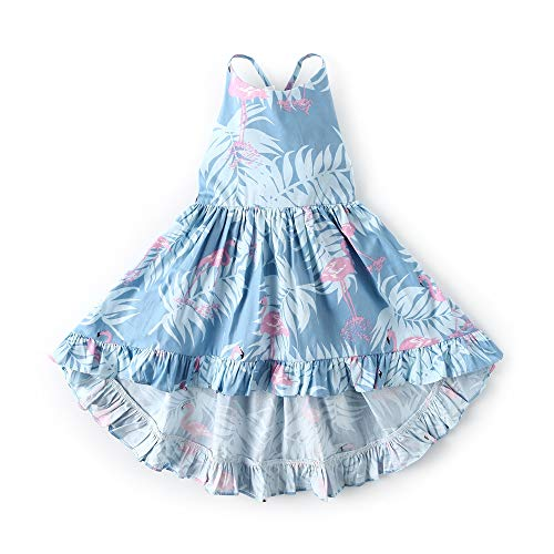 Bcaur Girls' 2T-12 Cotton Floral Dress Summer Backless Casual Sundress (6-7, Navy)