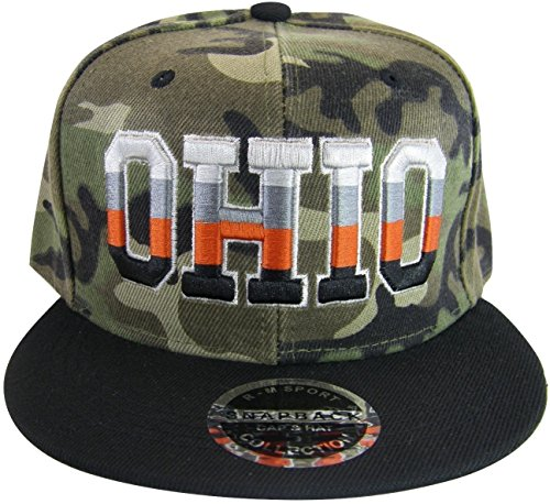 New League Ohio 4-Color Letters Men's Adjustable Snapback Baseball Cap (Camo/Black) (Ohio Hat State Buckeyes Flat Bill)