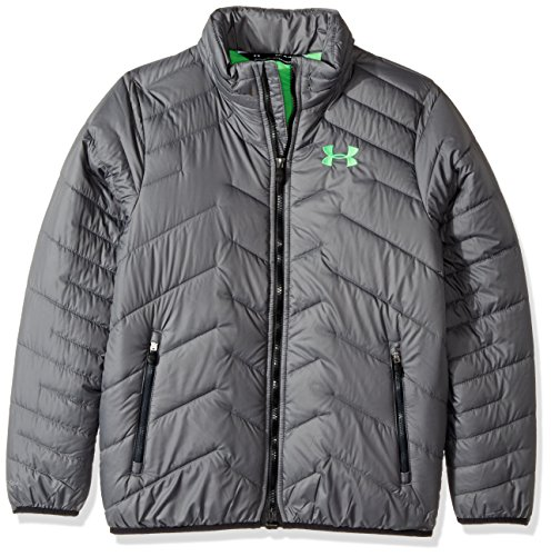 Under Armour Boys Jacket - Under Armour Boys' ColdGear Reactor Jacket, Graphite/Lime Twist, Youth X-Large
