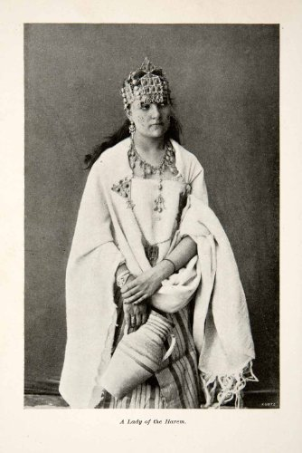 Concubine Costume (1897 Print Harem Woman Lady Dress Concubine Sacred Female Costume Polygynous - Original Halftone Print)
