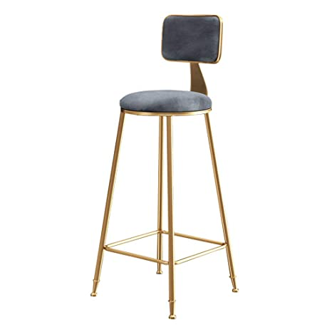 Barstools Upholstered Footrest with Backrest Sponge Seat Dining Chairs for Kitchen Restaurant Pub Caf/é Bar Counter Stool Max Load 200kg Gold Metal Legs Height:65cm