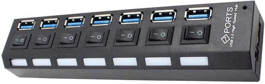 USB 3.0 HUB 7 Ports Individual Switch High Speed Adapter/ with/ Power/ Supply Power Adapter Hub