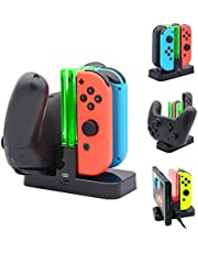 FastSnail Controller Charger for Nintendo Switch, Pro Controller and Joy-con Charging Dock for Nintendo Switch with Charging Indicator and Type C Charging Cable (Black)