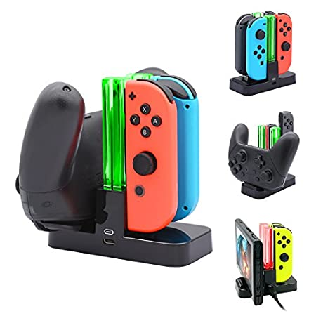 FastSnail Controller Charger for Nintendo Switch, Charging Dock Stand Station for Switch Joy-con and Pro Controller with Charging Indicator