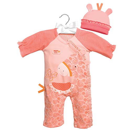 C.R. Gibson Little Fair Footless Sleep and Play Set, Fits Sizes 0-3 Months, by Baby Dumpling - Pony - Basket Gibson