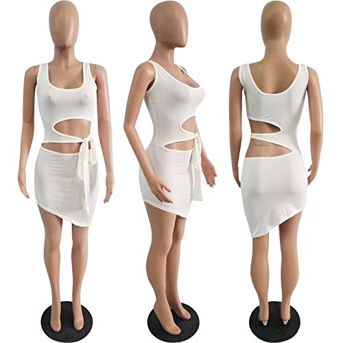 Dress Mini Club Bandage Sexy White Scoop Neck Tank Hollow Out Bodycon Women's Adogirl a8vZ1