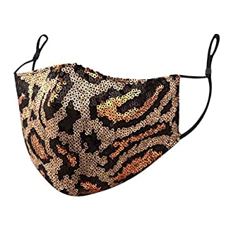 UOFOCO 1PC Face Balaclavas Sequins Cotton Cloth Fabric Adults Women Men Reusable Breathable Washable Earloop Mouth Cover Protection Covering
