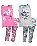 Sleep On It Girls 4-Piece Tank Top and Legging Pajama (2 Full Sets) Grey/Pink, Size 10/12'