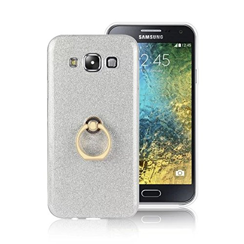 Luxus Bling Sparkle Style Case, Soft TPU [Silikon] Flexible Glitter Back Cover mit Fingerring Stand [Anti Scratch] [Shockproof] für Samsung Galaxy E5 ( Color : White ) White
