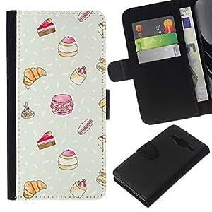 KLONGSHOP // Tirón de la caja Cartera de cuero con ranuras para tarjetas - Dulces Pastelería francesa Chef Kids - Samsung Galaxy Core Prime //