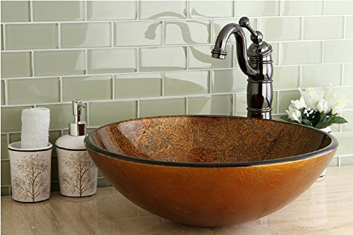 Beautiful Contemporary Tuscany Tempered Round Glass Vessel Sink Perfect for Any Bathroom, or Restroom.