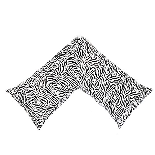 (New Silky Soft Satin V Shaped / Tri / Boomerang Standard Pillow Case Cushion Cover Multiple Colors (Black and White Zebra))