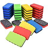 Magnetic Dry Erasers, 24 Pack Mini Cute Chalkboard Whiteboard Dry Erasers Cleaner for Home, Office, School Classroom Teacher, Green Red Blue Yellow, 4 X 2 Inches