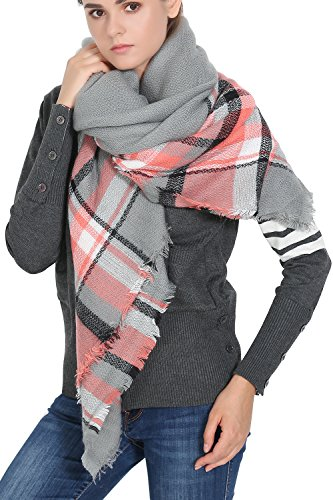 Reachme Womens Blanket Scarves Warm Oversized Blanket Shawl Wrap Holiday Gifts Grey Coral Mixed