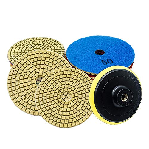 Durable Diamond Polishing Pads Set 10pcs 4 Inch Wet/Dry Pads Set for Granite Quartz Concrete Marble Stone Countertop Polishing, 50#-3000# with Hook & Loop Backing Holder Disc