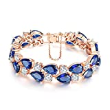 18K Rose Glod Plated AAA Cubic Zirconia Wedding Bracelet Blue Crystal Oval Tennis Bracelet for Women