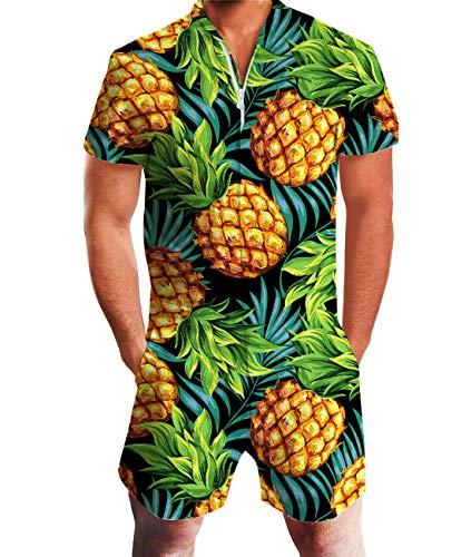 Idgreatim Men's 3D Graphic Glasses Pineapple Romper Short Sleeve Printed One Piece Jumpsuit for Hawaii Beach XL