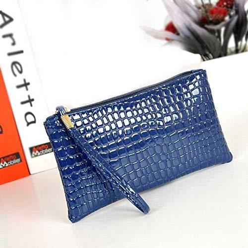 Crocodile Leather Clutch Handbag Bag Coin ID Card Phone Women Purse Vogue Wallet (Color - Blue)