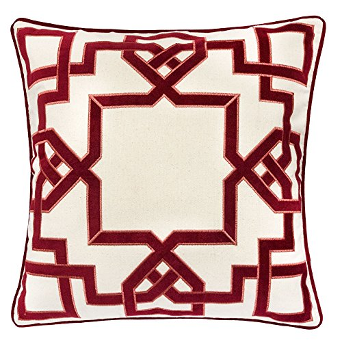 Homey Cozy Applique Throw Pillow Cover,Celtic Knot Red Cotton Canvas Large Sofa Couch Pillow Sham,20x20 Cover Only