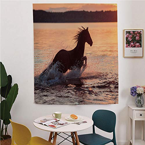 Equestrian Blackout Window Curtain,Free Punching Magic Stickers Curtain,Horse Sea at Sunset Time Horizon Speed Exotic Nature Animal Picture Art,for Living Room,Study, Kitchen, Dormitory, Hotel,Salmon